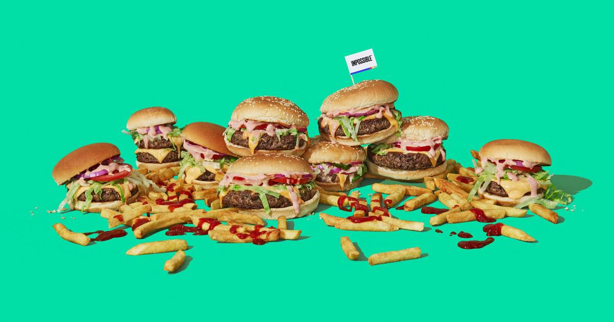 インポッシブルフーズのハンバーガーを9個並べた画像