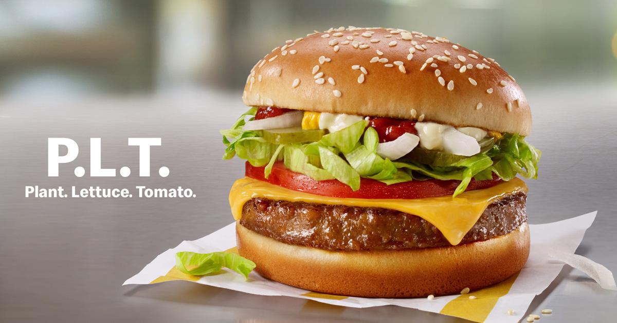 マクドナルドで提供されるビヨンド・ミートの植物由来肉を使用したハンバーガーメニューP.L.T.