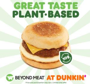 ビヨンドミートの植物由来肉を使用したダンキン・ドーナツのサンドイッチ